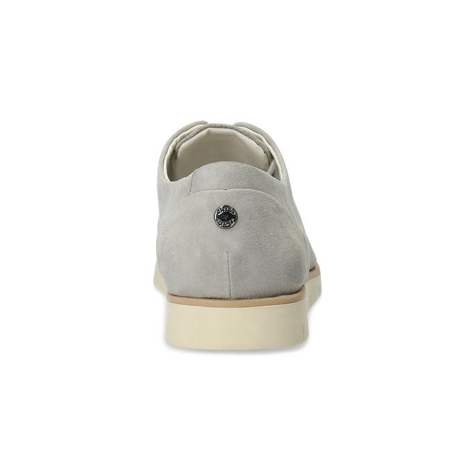 Dámske kožené poltopánky s perforáciou flexible, šedá, 523-2605 - 15