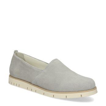 Kožená dámska Slip-on obuv s perforáciou flexible, šedá, 513-9609 - 13