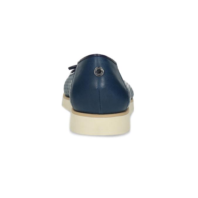 Tmavomodré kožené baleríny s perforáciou flexible, modrá, 524-9607 - 15