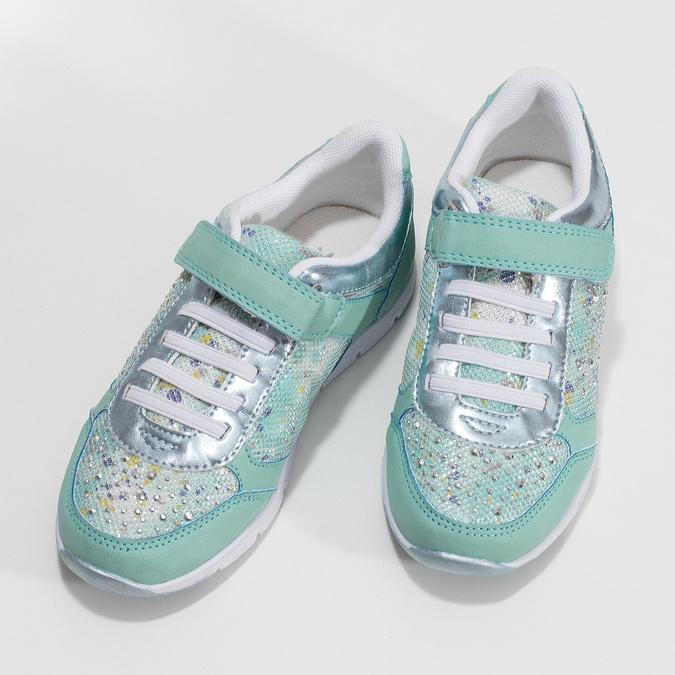 Dievčenské modré tenisky s kamienkami mini-b, 329-7617 - 16
