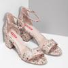 Ružové sandále na podpätku s kvetinovým vzorom bata-red-label, ružová, 661-5615 - 26