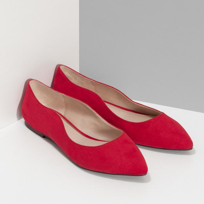 Červené dámske baleríny bata-red-label, červená, 529-5644 - 26