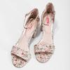 Ružové sandále na podpätku s kvetinovým vzorom bata-red-label, ružová, 661-5615 - 16