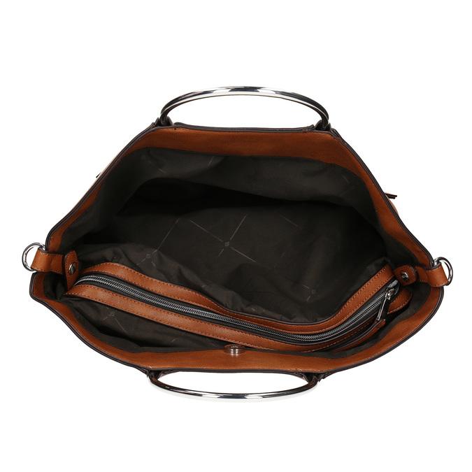 Hnedá dámska kabelka s kovovými rúčkami bata, hnedá, 961-3934 - 15