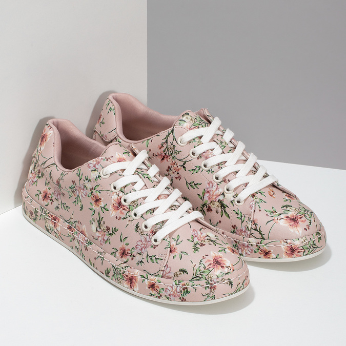 Kvetované dámske tenisky ružové bata-red-label, ružová, 541-5606 - 26