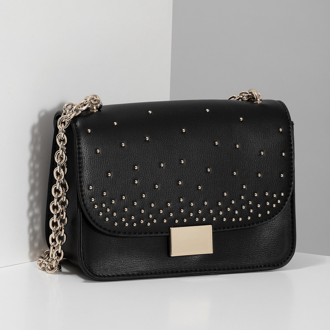 Čierna Crossbody kabelka s kovovými cvočkami bata, čierna, 961-6928 - 17