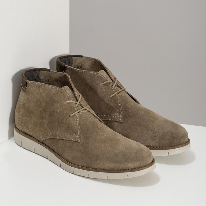 Kožená hnedá pánska Desert Boots obuv flexible, hnedá, 823-8636 - 26