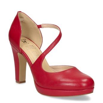Červené kožené lodičky s asymetrickým remienkom insolia, červená, 724-5662 - 13