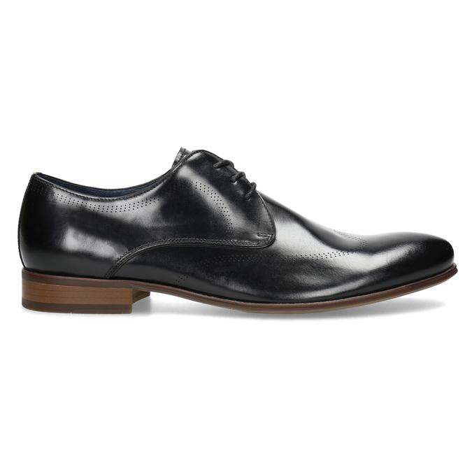 Čierne kožené Derby poltopánky s perforáciou bata, čierna, 824-6833 - 19