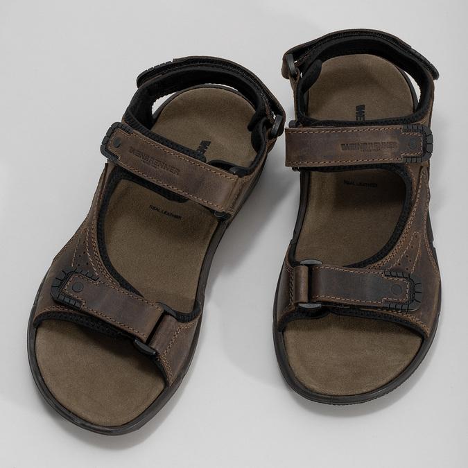 Hnedé pánske sandále z brúsenej kože weinbrenner, 866-4631 - 16