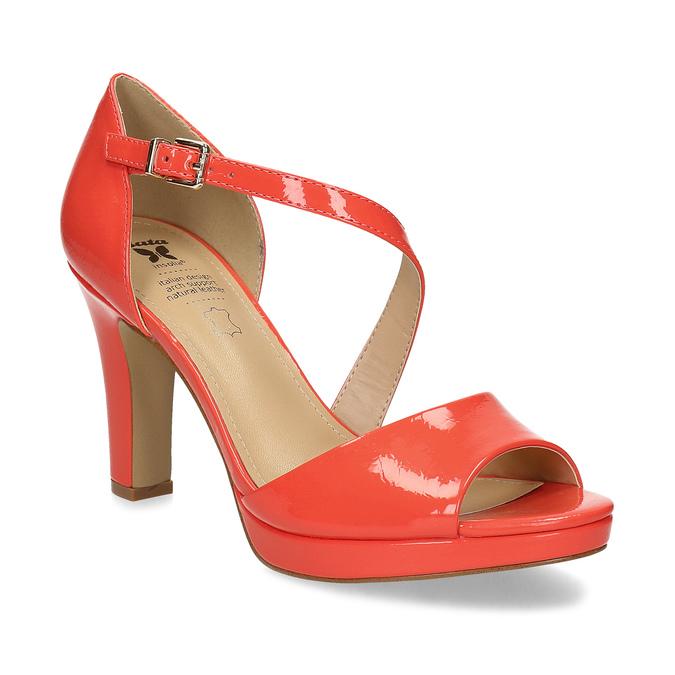 Korálové dámske sandále s asymetrickým remienkom insolia, červená, 761-5600 - 13