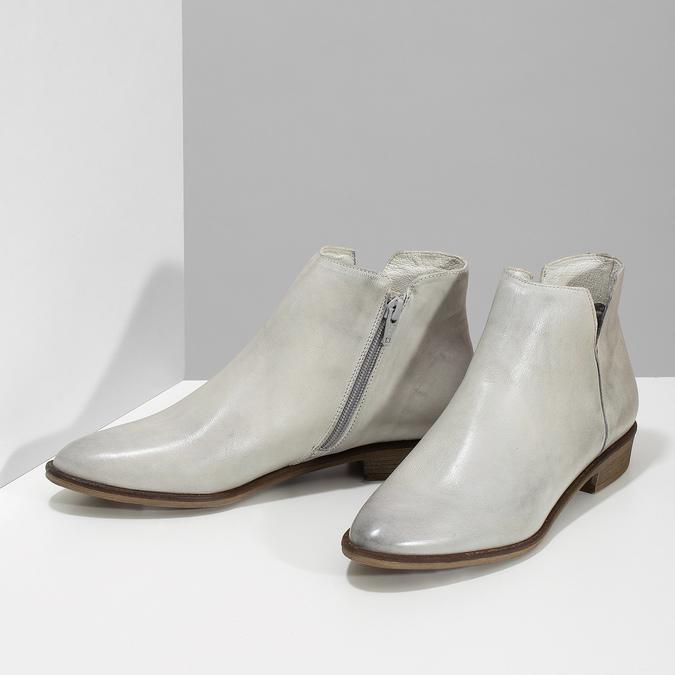 Kožené dámske členkové čižmy bata, šedá, 526-1666 - 16