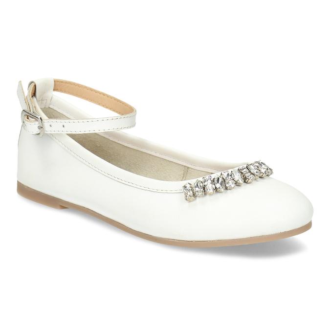82d8dcb29584 Mini B Biele kožené baleríny s kamienkami dievčenské - Baleríny ...