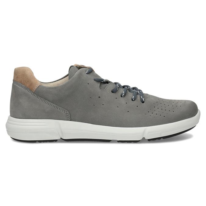 Pánske šedé kožené tenisky s perforáciou bata-light, šedá, 846-2722 - 19