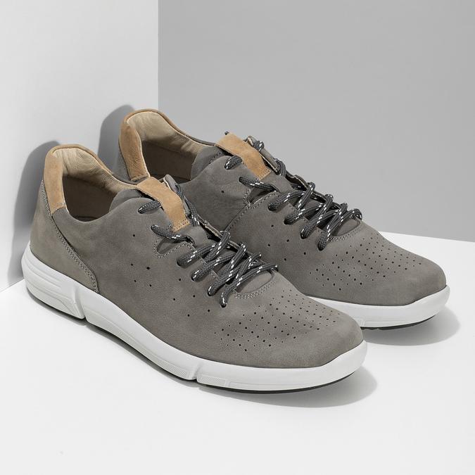 Pánske šedé kožené tenisky s perforáciou bata-light, šedá, 846-2722 - 26