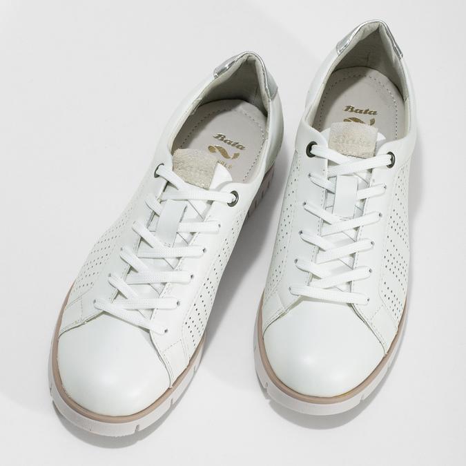 Biele kožené dámske tenisky s perforáciou flexible, biela, 524-1606 - 16