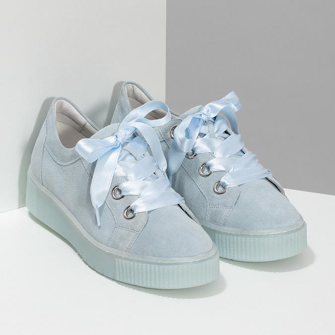 Kožené tenisky s mašľou modré bata, modrá, 543-9600 - 26
