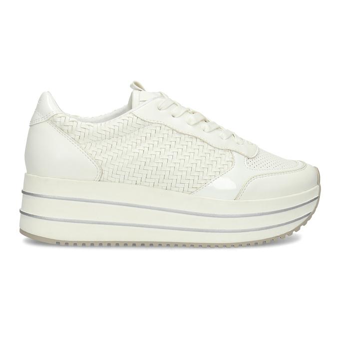 Biele dámske tenisky na vysokej flatforme bata-light, biela, 621-1656 - 19