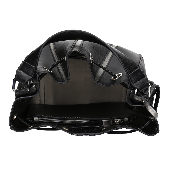 Čierna kabelka v štýle Bucket Bag bata, čierna, 961-6964 - 15