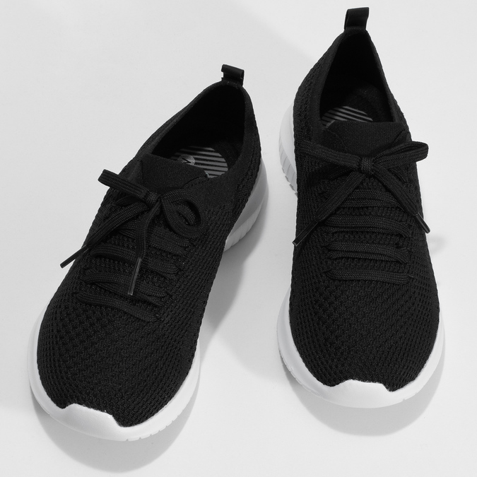 Čierne dámske tenisky v pletenom štýle skechers, čierna, 509-6105 - 16
