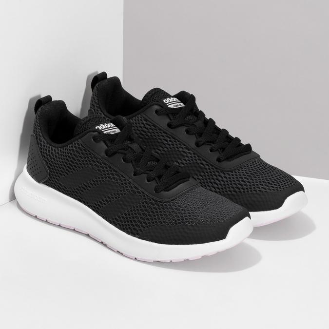 Dámske čierne tenisky s bielou podrážkou adidas, čierna, 509-6102 - 26