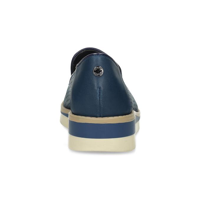 Kožené dámske mokasíny s perforáciou flexible, modrá, 514-9611 - 15