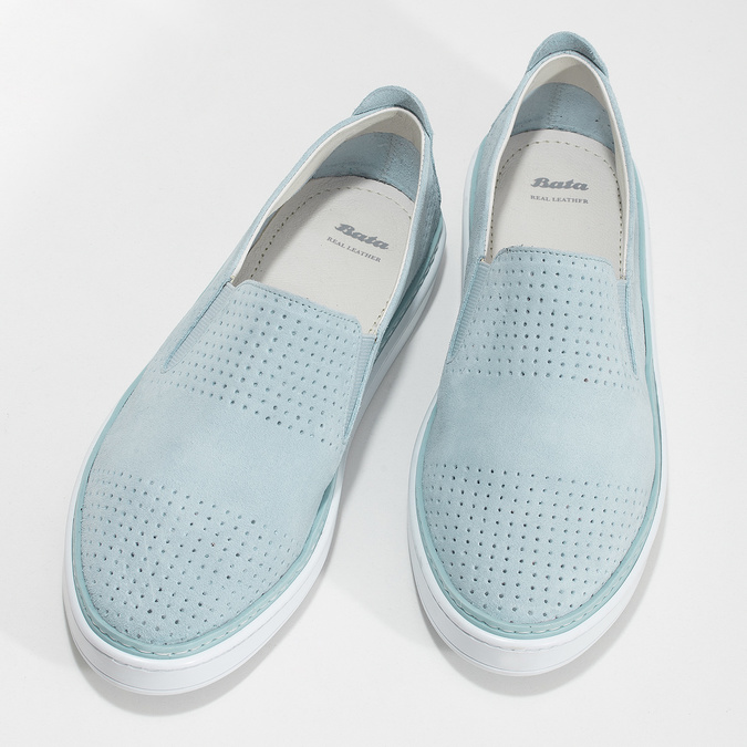 Dámske kožené Slip-on svetlomodré bata, modrá, 533-9601 - 16