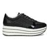 Čierne dámske tenisky na pruhovanej flatforme bata-light, čierna, 621-6656 - 19