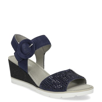 490695f76f265 Modré dámske kožené sandále na platforme gabor, modrá, 663-9606 - 13