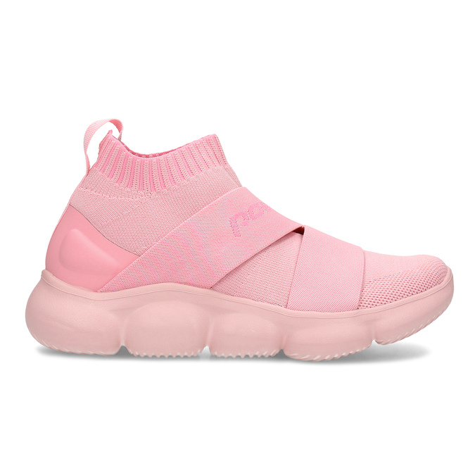 Členkové ružové dámske tenisky z úpletu power, ružová, 509-5237 - 19