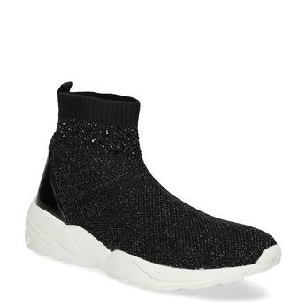 Čierna členková dámska obuv s kamienkami bata-light, čierna, 599-6628 - 13