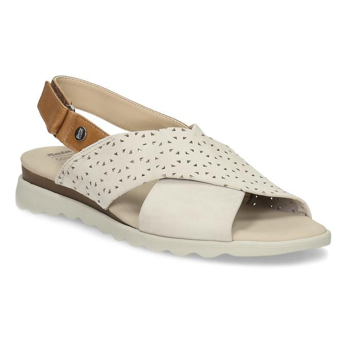 Béžové dámske kožené sandále s perforáciou comfit, béžová, 566-8610 - 13