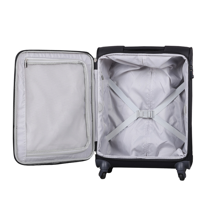 Čierny kvalitný textilný kufor samsonite, čierna, 960-6037 - 17