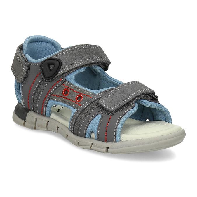 Chlapčenské šedé kožené sandále mini-b, šedá, 263-2605 - 13