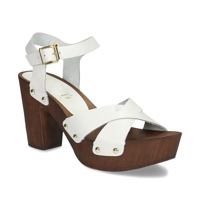 977025df27 Bata Biele kožené dreváky na podpätku - Všetky topánky