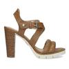 Hnedé kožené sandále na prírodnom podpätku flexible, hnedá, 763-3631 - 19