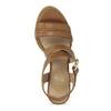 Hnedé kožené sandále na prírodnom podpätku flexible, hnedá, 763-3631 - 17