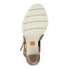 Hnedé kožené sandále na prírodnom podpätku flexible, hnedá, 763-3631 - 18