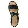 Čierne dámske kožené sandále na svetlej podrážke flexible, čierna, 563-6601 - 17
