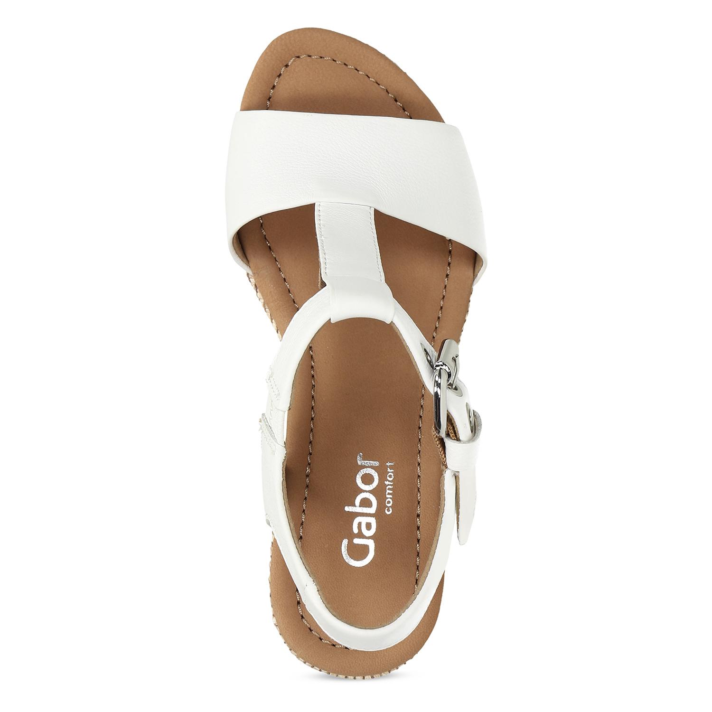 b833465f97917 ... Biele kožené sandále na prírodnej platforme gabor, biela, 763-1600 - 17  ...