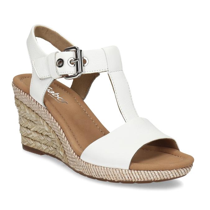 175c1491ea25 Gabor Biele kožené sandále na prírodnej platforme - Klinový podpätok ...