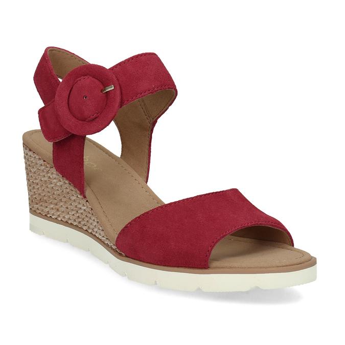 8719a631d163a Kožené červené sandále na prírodnej platforme gabor, červená, 663-5606 - 13
