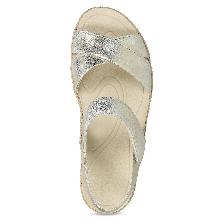 429ae42568 Gabor Zlaté kožené sandále s prírodnou podrážkou - Klinový podpätok ...