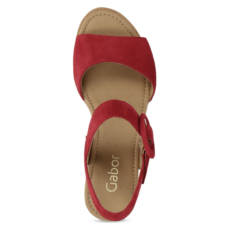 eec15827720c9 ... Kožené červené sandále na prírodnej platforme gabor, červená, 663-5606  - 17 ...