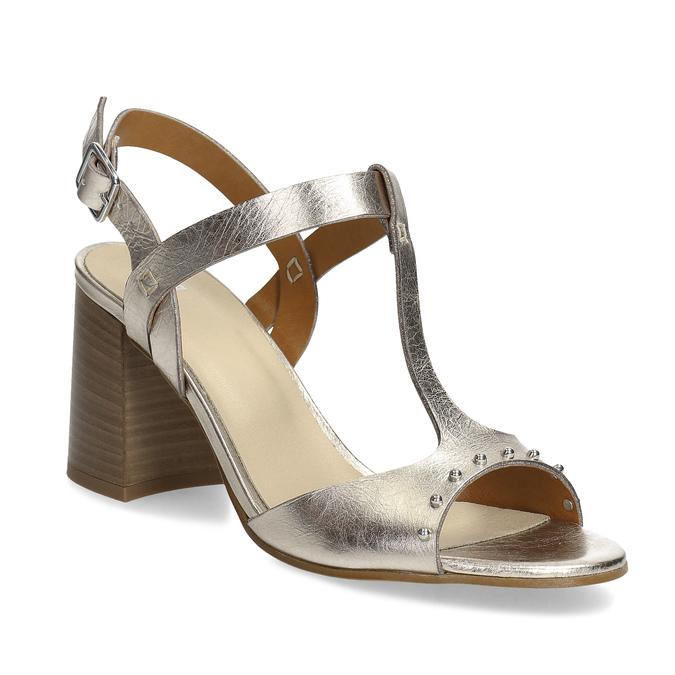 6031ba6524 Bata Zlaté kožené sandále na stabilnom podpätku - Sandále