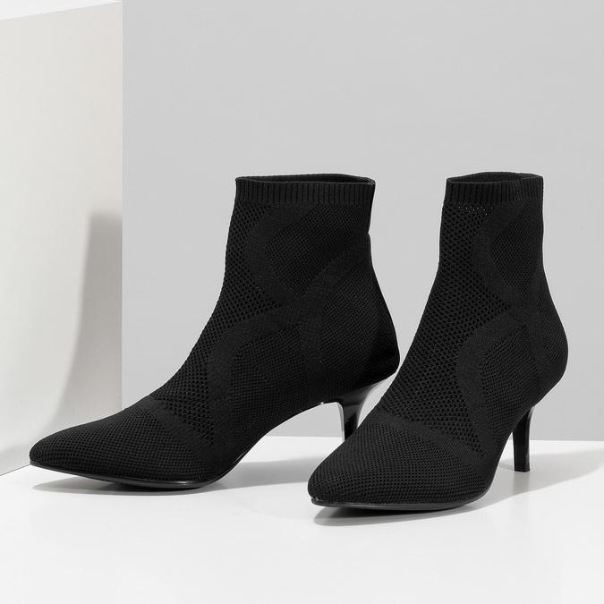 Čierna členková obuv na podpätku bata-b-flex, čierna, 799-6648 - 16