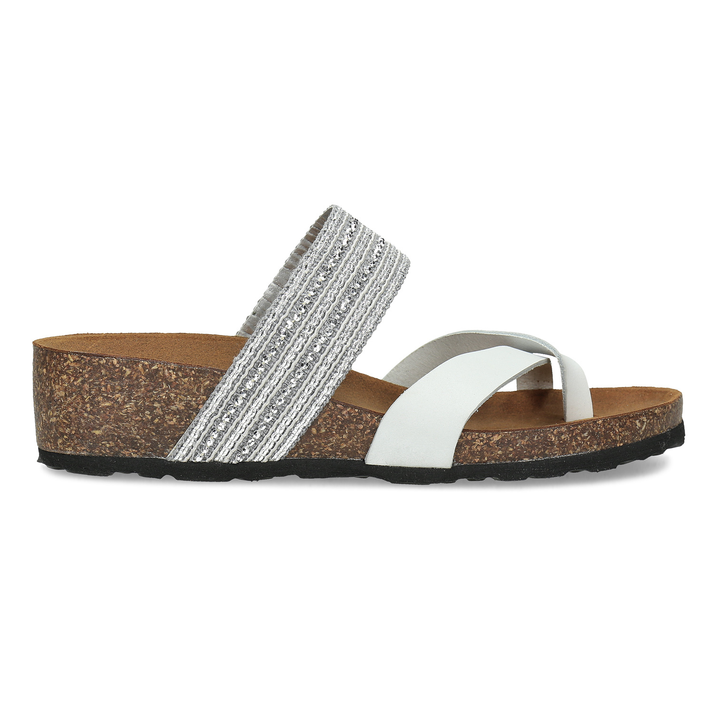 e37bf40f1402a ... Kožené sandále na kline s kamienkami bata, biela, 666-1600 - 19 ...