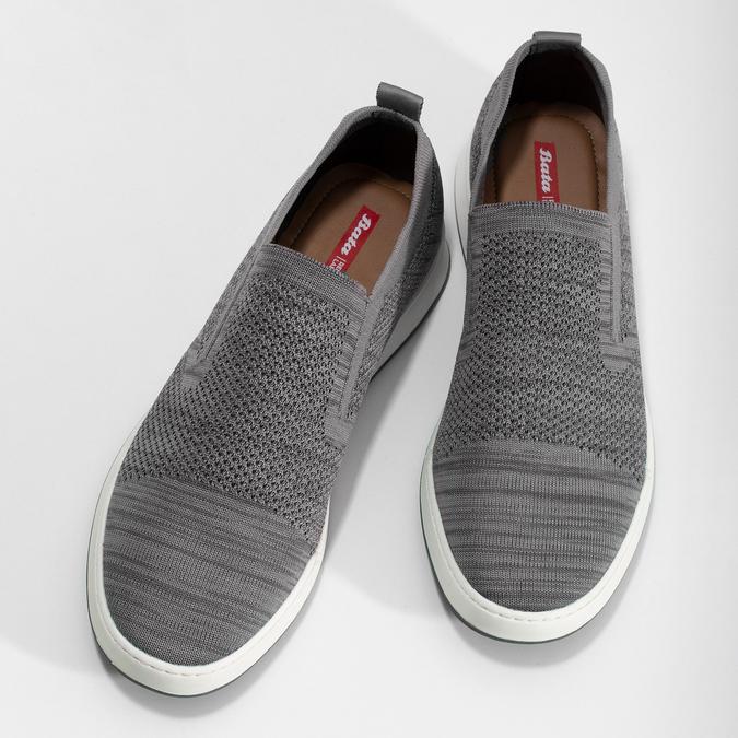 Pánske šedé úpletové slip-on tenisky bata-red-label, šedá, 839-2605 - 16