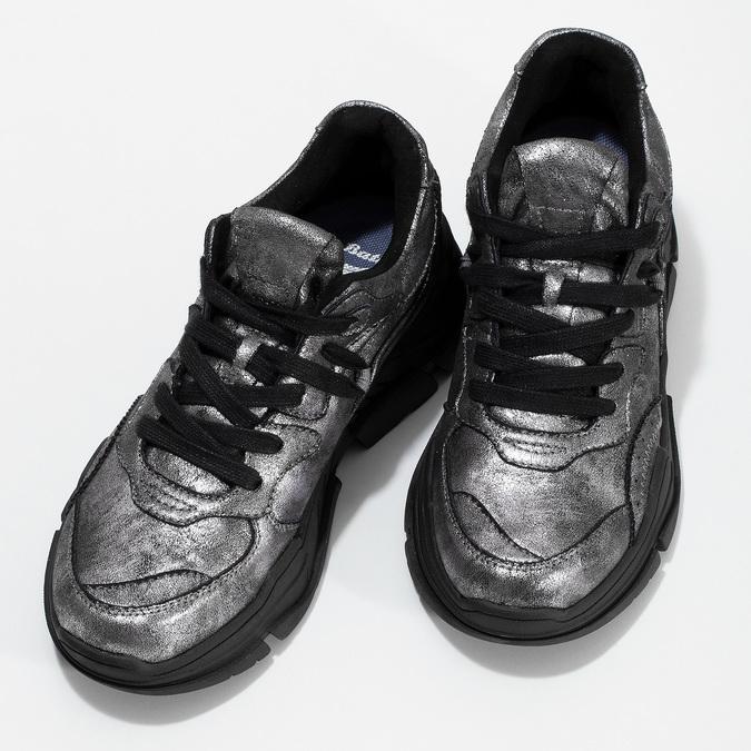 Strieborné dámske tenisky v Chunky štýle bata-light, strieborná, 641-4601 - 16