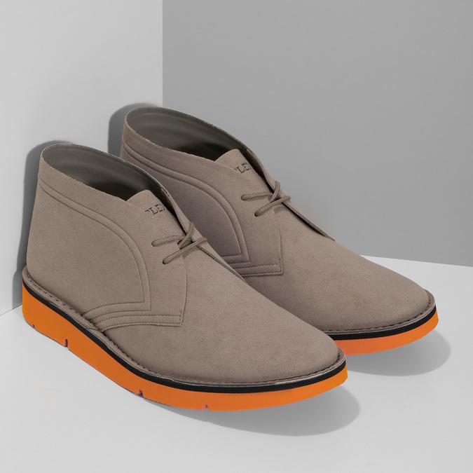 Členková pánska obuv s oranžovou podrážkou bata-b-flex, šedá, 899-8600 - 26